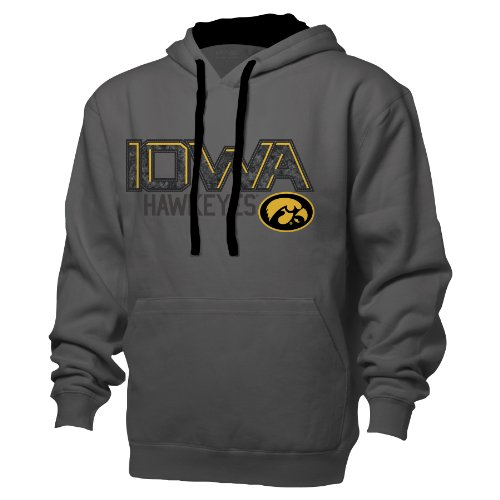 - NCAA Iowa Hawkeyes Benchmark Colorblock Pullover Hood, Large, Graphite/Black