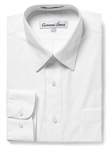 GIOVANNI UOMO Men's Traditional Fit Solid Color Dress Shirt White 17.5 ()