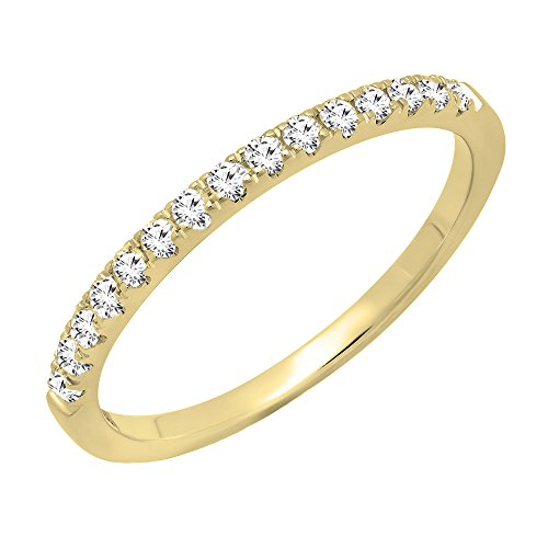 DazzlingRock Collection 0.25 Carat (ctw) 14K Yellow Gold Round Diamond Ladies Stackable Wedding Band 1/4 CT (Size 6) 14k Yellow Gold Stackable
