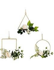 Set of 3 Floral Gold Metal Geometric Hoop Wreath, Artificial Flower Garland Hanging Pendant with Artificial Roses for Home Kitchen Wall Art Decoration