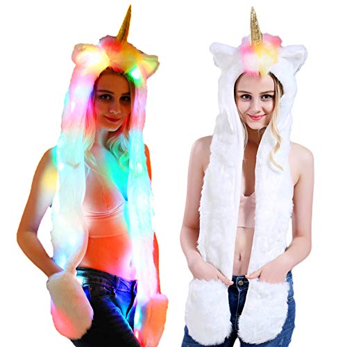 Boulou Unicorn Hat, Women Faux Fur Hat with Scarf Pockets for Xmas Christmas New Year