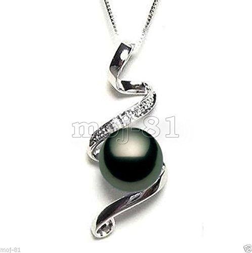 Fashion 10mm Genuine Black Tahitian South Sea Shell Pearl Pendant (10mm Black Genuine Pearl Necklace)