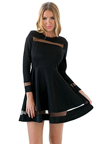 LookbookStore Women's Mesh Black Long Sleeves A Line Skater Dress US 12