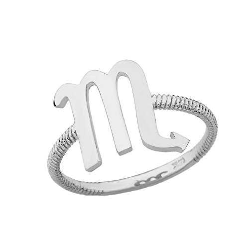 (Sterling Silver Scorpio Zodiac Horoscope Rope Ring (Size 11))