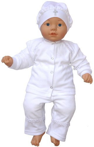 Velour Christening Baptism Outfit, Size: 3-6 M, Color: White