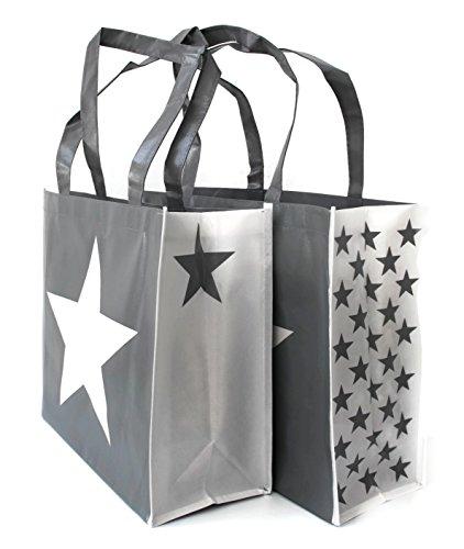 2er Set Einkaufstasche grau mit weißem Stern Shopper Tragetasche (2er Einkaufstasche grau)