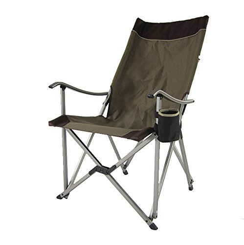 Casual Outdoor Patio Furniture - Onway Aluminum Portable Folding Premium Sling Relax Chair (Brown) - Camping Chair, Garden Chair, Tailgating, Outdoor Events, Solid Armrest with Ergonomic Angled Backrest