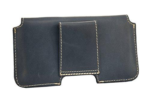 Holster für Apple Iphone 7 4,7 Zoll Gürteltasche Quertasche und Schlaufe Slim Design Case Echt Ledertasche Hülle Handytasche von OrLine in Schwarz mit verdecktem Magnetverschluss Handgefertigte Blau