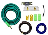 Green 0 Gauge Amplfier Power Kit for Amp Install Wiring 1/0 Ga Cables 4500W 200 ANL