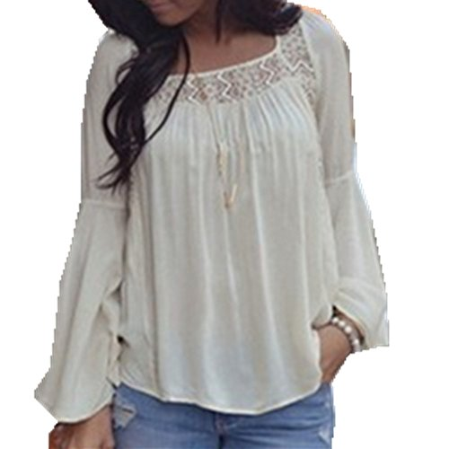 New Fashion Women Bell Sleeves Embroidery Top Blouse Lace Crochet Chiffon (Bell Sleeves Lace Costume)