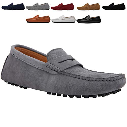 JIONS Men's Driving Penny Loafers Suede Driver Moccasins Slip On Flats Casual Dress Shoes Grey 8.5 D(M) US/EU 42