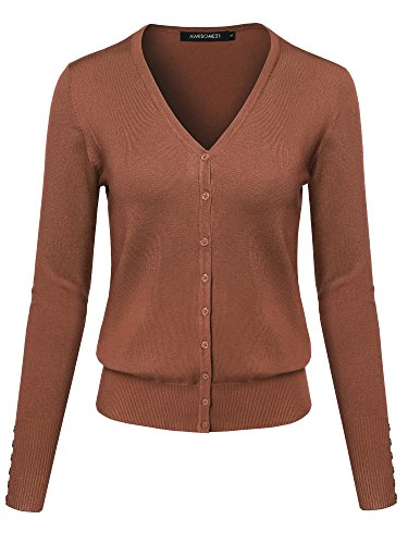 Basic Solid V-Neck Button Closure Long Sleeves Sweater Cardigan Espresso S
