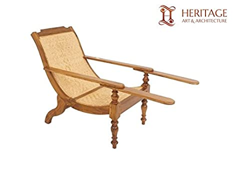 Heritage Art And Architecture Kerala Teak Wood Easy Chair 39x53x28