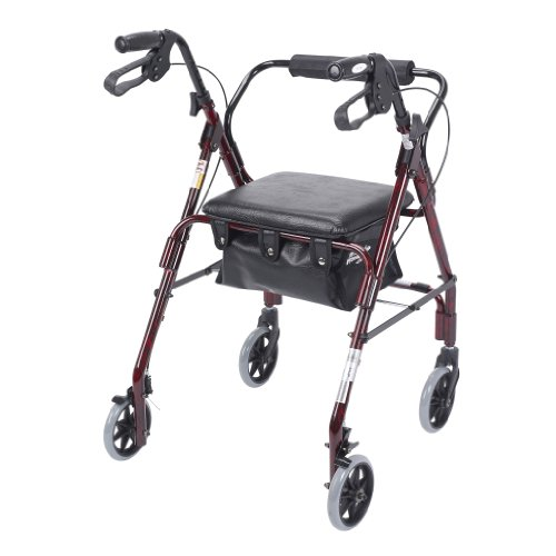 Drive Medical Mimi Lite Deluxe Aluminum Rollator, Flame Red by Drive Medical (Image #1)