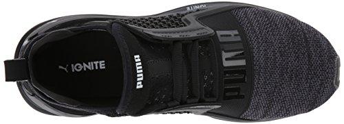 PUMA Kids' Ignite Limitless Knit Jr Sneaker, Black Silver,6.5 M US Big Kid