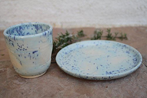 Blue Kids dinnerware set handmade ceramic child cup and plate