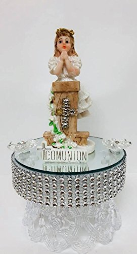 First Holy Communion Cake Topper Girl With Pedestal Design Decoration Centerpiece by onlinepartycenter