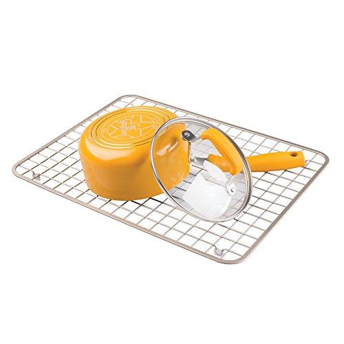 iDesign Gia Metal Sink Grid, Large Non-Skid Protector for Kitchen, Bathroom, Basement, Garage, Laundry Room, Set of 1, Satin