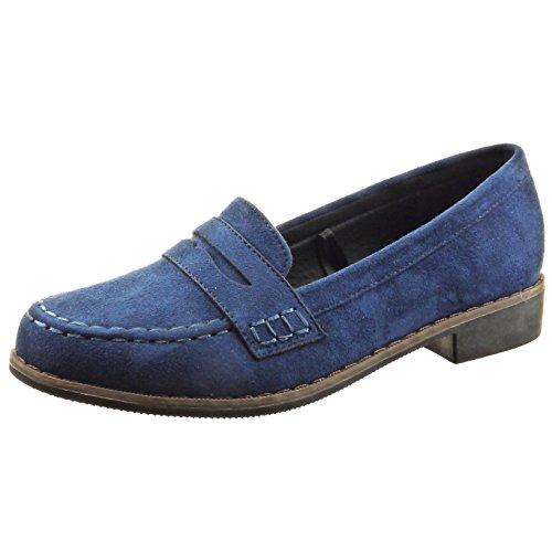 Sopily - Zapatillas de Moda Mocasines Tobillo mujer acabado costura pespunte Talón Tacón ancho 2.5 CM - Azul