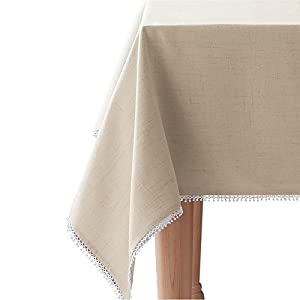 "Lenox French Perle Solid 60""x120"" rectangle Tablecloth, Natural Linen"
