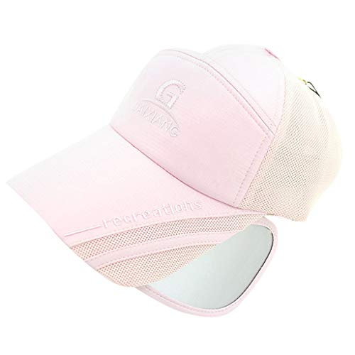 HJuyYuah Unisex Summer UV Protection Sunscreen Retractable UV Mirror Baseball Cap Pink ()
