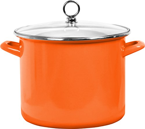 Calypso Basics 78500 Enamel Stock Pot, 8 quart, Orange