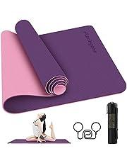 Tapete para Yoga de 6 mm de Grosor, acolchado ultra denso para apoyo y estabilidad en yoga, pilates, gimnasio y cualquier condición física general, Incluye Gratis un Práctico Carry Strap para que lo puedas transportar con facilidad
