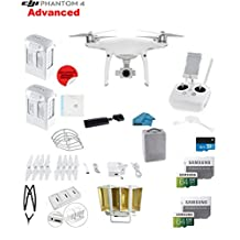 DJI Phantom 4 ADVANCED Quadcopter Drone with 1-inch 20MP 4K Camera KIT + 2 Total DJI Batteries + 2 SanDisk 64GB Micro SDXC Cards + Card Reader 3.0 + Snap on Prop Guards + Charging Hub + Range Extender