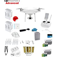 DJI Phantom 4 ADVANCED Quadcopter Drone with 1-inch 20MP 4K Camera KIT + 2 Total DJI Batteries + 2 64GB Micro SDXC Cards + Card Reader 3.0 + Snap on Prop Guards + Charging Hub + Range Extender
