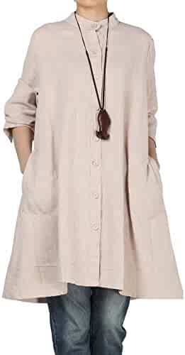 60660a59e035 Mordenmiss Women's New Cotton Linen Full Front Buttons Jacket Outfit with  Pockets