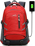 Backpack Bookbag For School College Student Sturdy Travel Business Laptop Compartment with USB Charging Port Luggage Chest Straps Night Light Reflective (Red Color)
