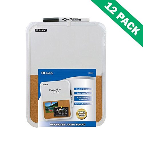 Cork Boards, White Combination Dry-erase/cork Bulletin Board Set - 12 Pack by Bazic-Products