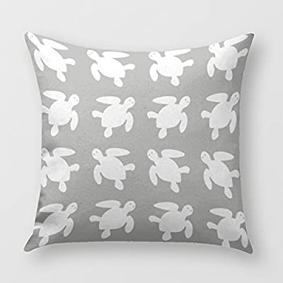 Sea Turtle Throw Pillow Cover for Sofa or Bedroom In Gray And White