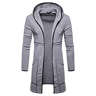 Easytoy Fashion Mens Hooded Solid Trench Coat Jacket Cardigan Long Sleeve Outwear