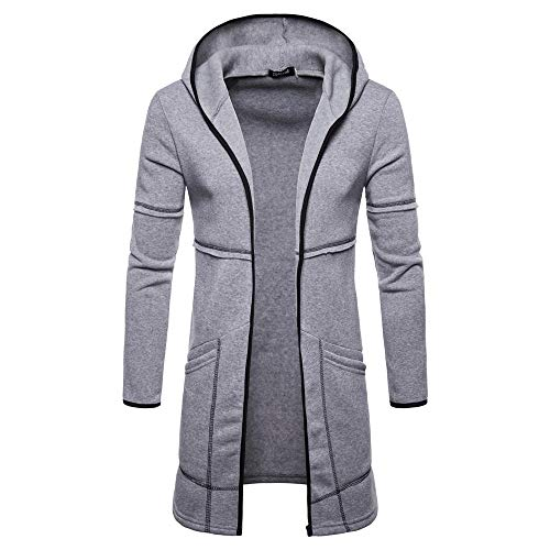 Sunhusing Men's Casual Solid Color Hooded Long Cardigan Sweater Hipster Trench Coat ()