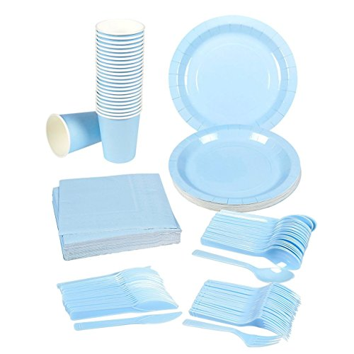 Disposable Dinnerware Set - 24-Set Paper Tableware - Dinner Party Supplies for 24 Guests, Including Knives, Forks, Spoons, Paper Plates, Napkins and Cups, Light Blue