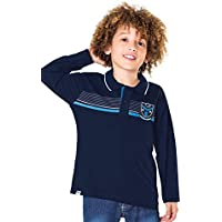 Camisa Polo Manga Longa Infantil Menino Marinho - Fakini