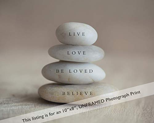 Words on Stacked Stone Neutral Decor Wall Art Meditation Photography Print