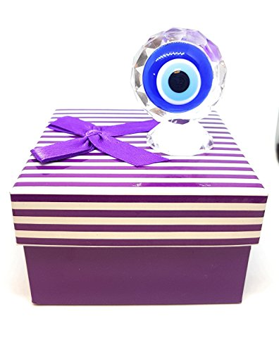 WhatEverULove Crystal Evil Eye Charm with Box - Chic - Home Decoration - Good Luck/Success/Protection Against Bad Aura