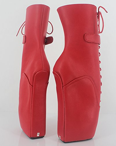 Wonderheel wedge heel fetisch matte rot Kurzschaft padlocks ballett stiefel
