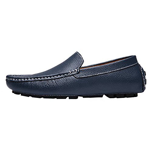 rismart Mens Soft Split Grain Leather Driving Loafer Shoes Comfortable Moccasins Slippers Boat Shoes Navy SN9100 US9 AvTi6