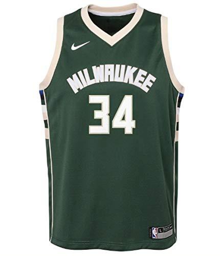 Nike Kids Giannis Antetokounmpo NBA Milwaukee Bucks Icon Edition Swingman Basketball Jersey Size Small - 8