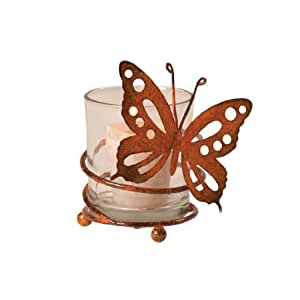 Wilco Imports Orange Butterfly Votive Candle Holder, 4-1/4-Inch by 3-1/4-Inch by 4-3/4-Inch
