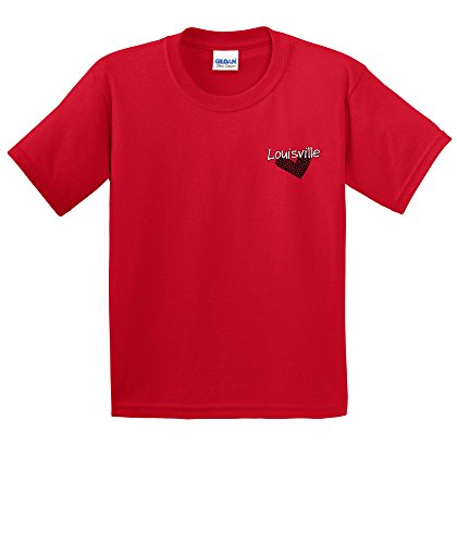 NCAA Louisville Cardinals Girls Patterned Heart Short Sleeve Cotton T-Shirt, Youth Small,Red