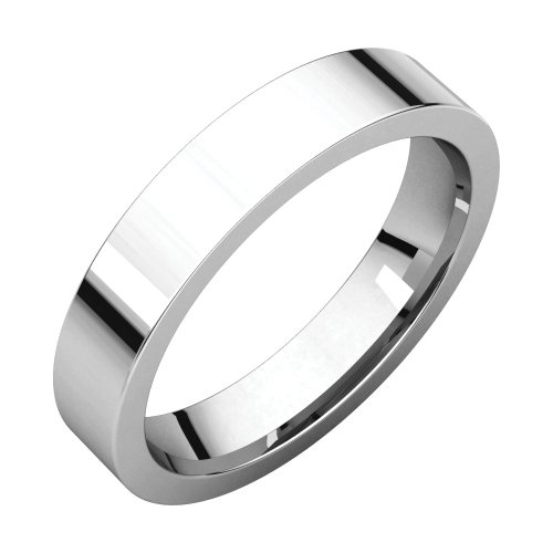 Palladium 4mm Flat Comfort Fit Wedding Band by STU001-