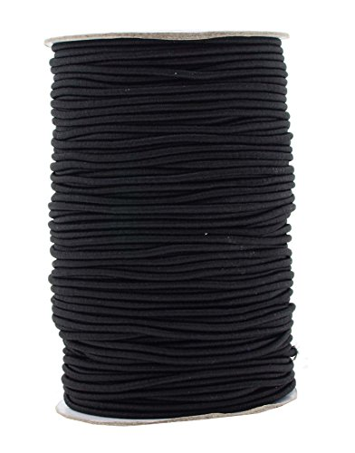Cord Knot Stretch (Mandala Crafts 2mm 76 Yards Fabric Elastic Cord, Round Rubber Stretch String for Journals, Beading, Jewelry Making, Masks, DIY Crafting (Black))