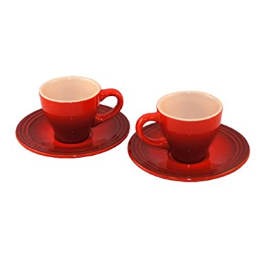 Le Creuset Stoneware Set of 2 Espresso Cups & Saucers Cherry Red Coffee/Tea NEW