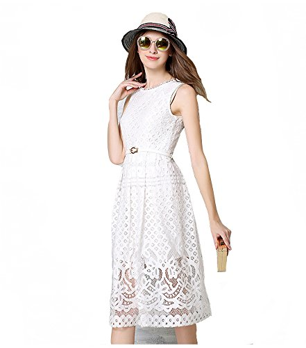 MoonlightCity Women Spring Summer Bohemian Hollow Lace Dress