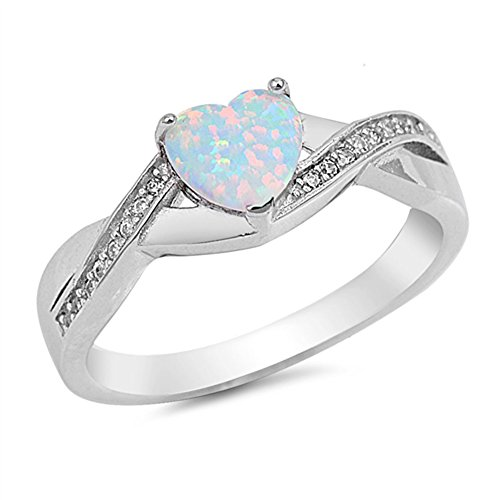 Opal Knot (White Simulated Opal Infinity Knot Heart Ring New .925 Sterling Silver Band Size 8)