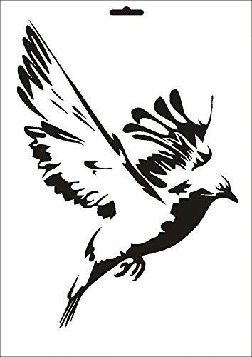 UMR-Design W-111 Pigeon Textil- / wallstencil Size A4